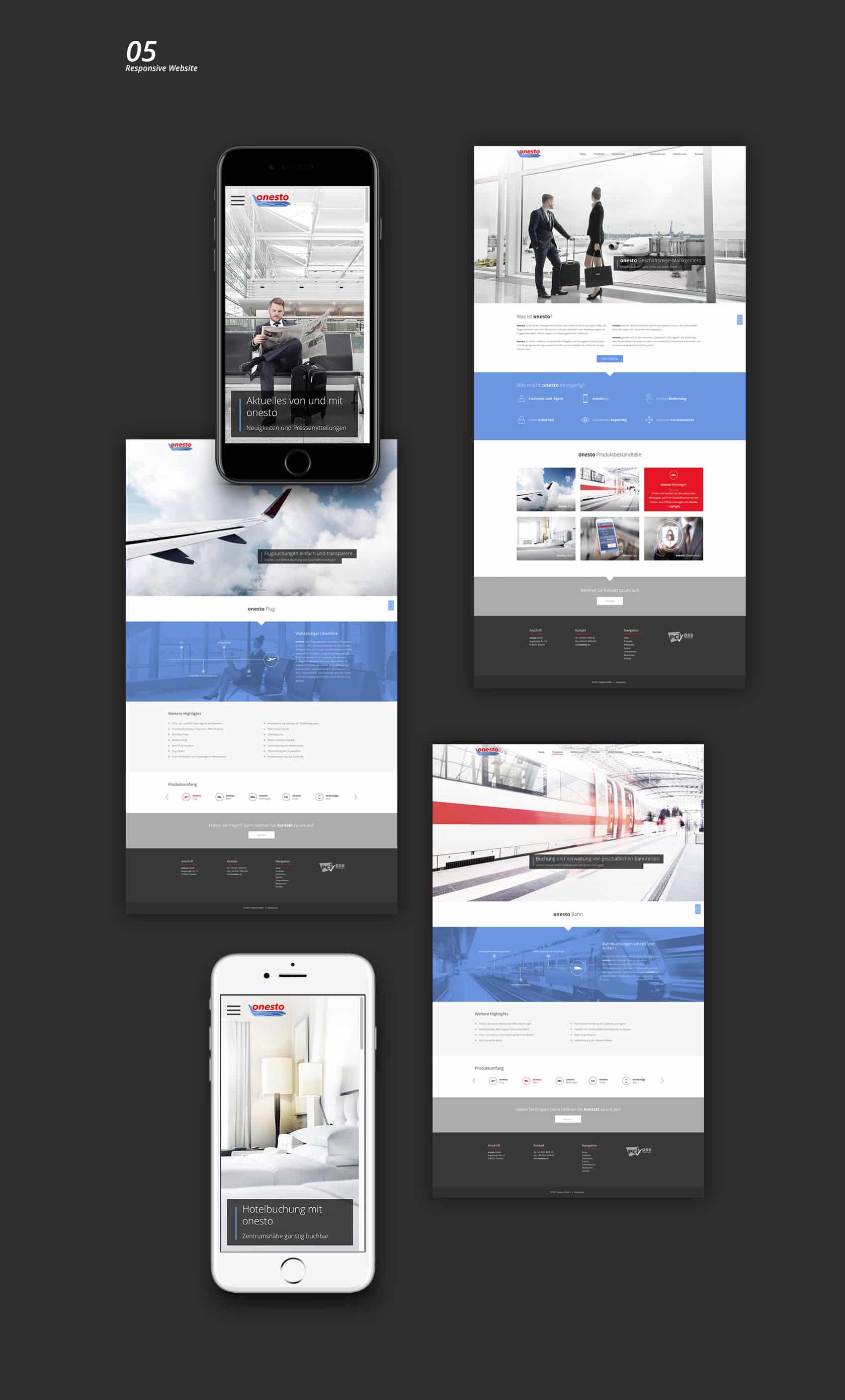 EAZEE Webagentur Muenchen onesto GmbH Responsive Design Website Desktop und Mobile Ansicht