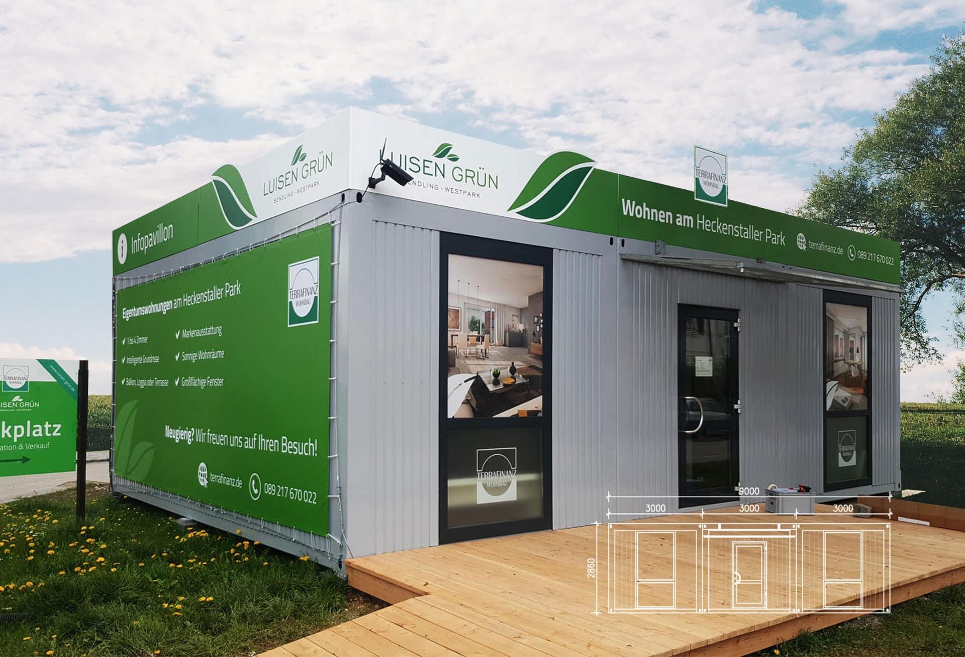EAZEE Immobilienmarketing Terrafinanz Luisengruen Infopavillon Verkaufscontainer