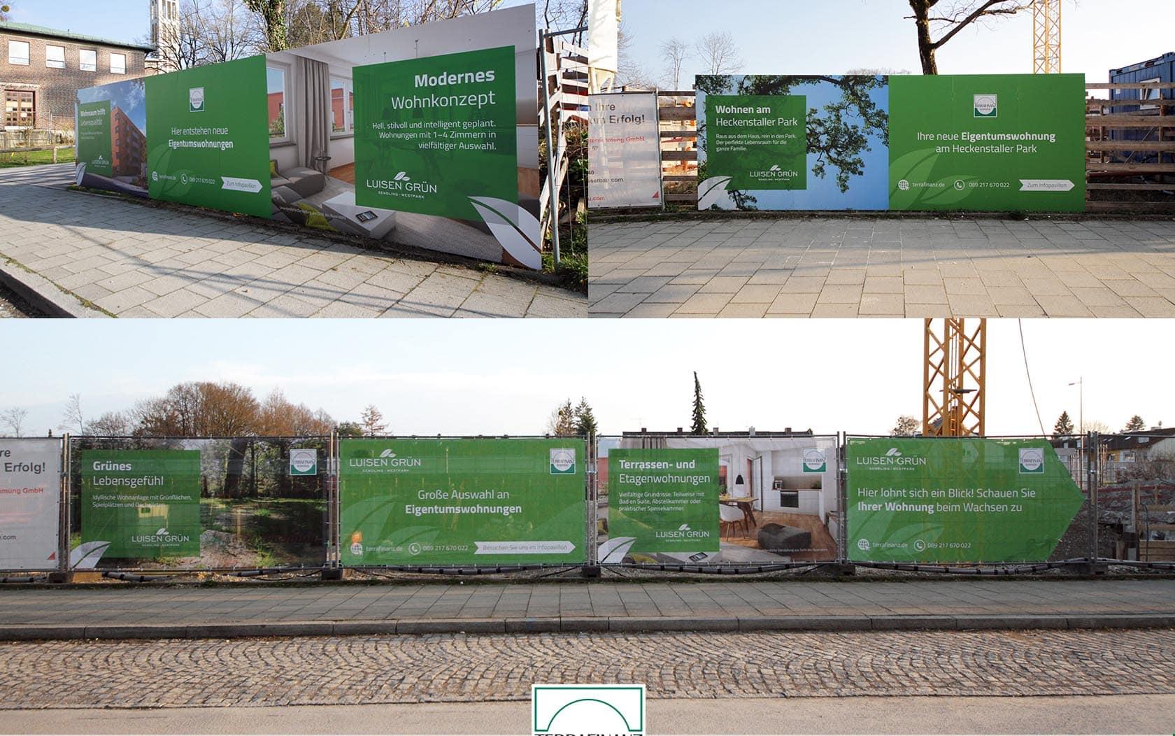 EAZEE Immobilienmarketing Terrafinanz Luisengruen Design von Bauzaunbannern