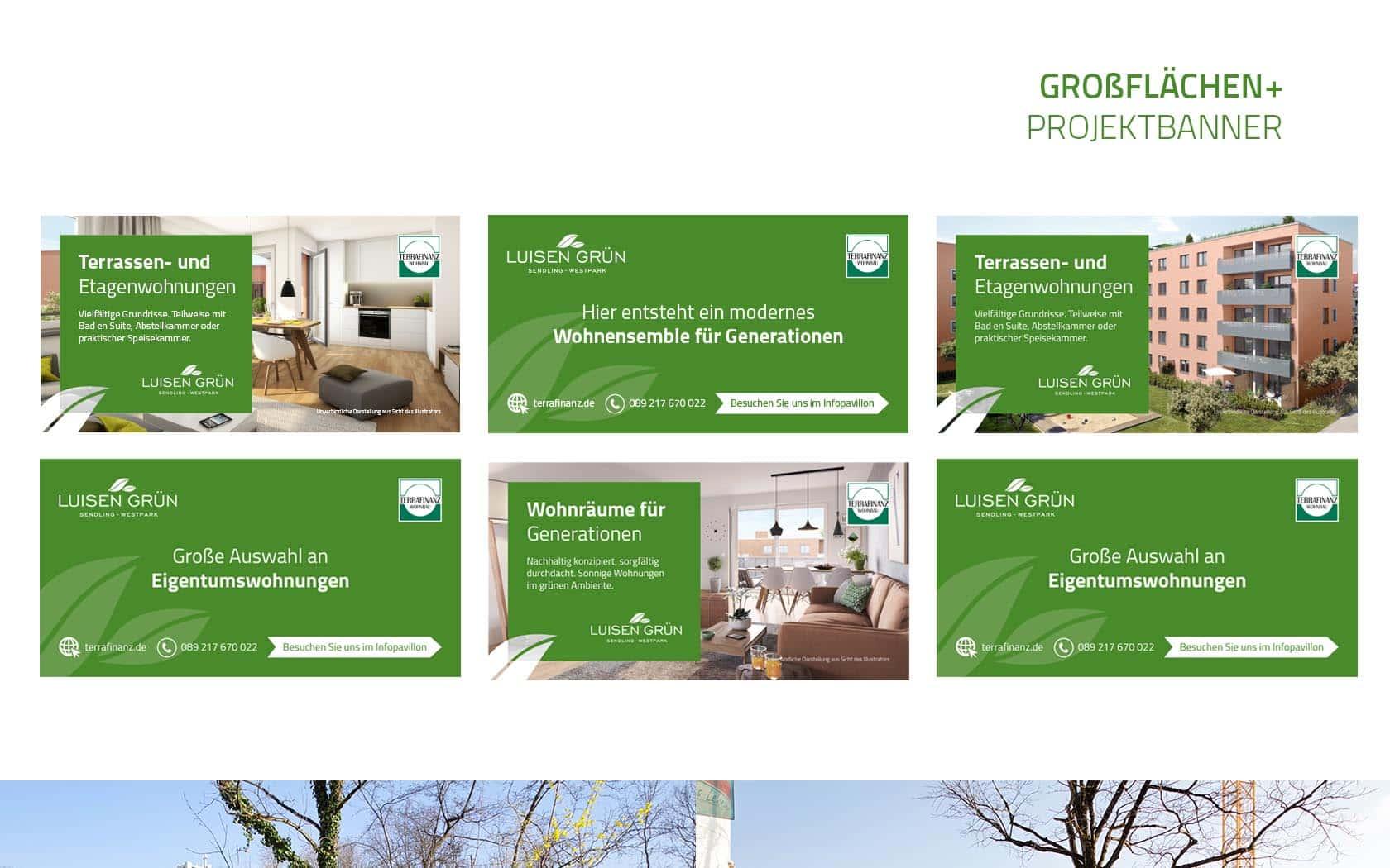 EAZEE Immobilienmarketing Terrafinanz Luisengruen Bauzaunbanner Vorscha