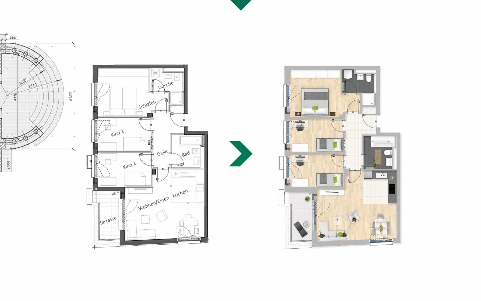 EAZEE Immobilienmarketing Terrafinanz Luisengruen Grundrisskolorierung